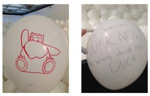 Drawn on ballons combined